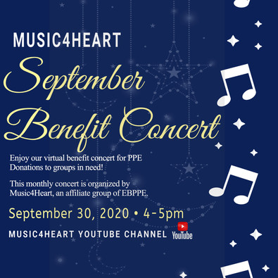 Music4Heart.Org News Update : September Virtual Benefit Concert will be released 4pm on 09/30/20