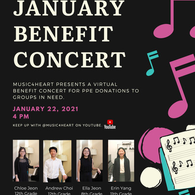 Music4Heart.Org News Update : January Virtual Benefit Concert will be released 4pm on 01/22/2021