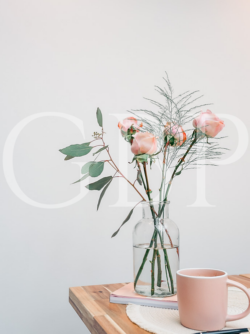 Stock Photo - Blush rose and mug