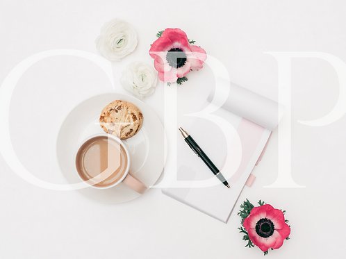 Stock Photo - Pink Cuppa and Notes