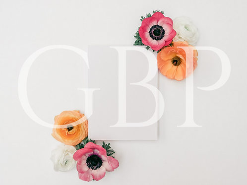 Stock Photo - Blank Card with Spring Flowers