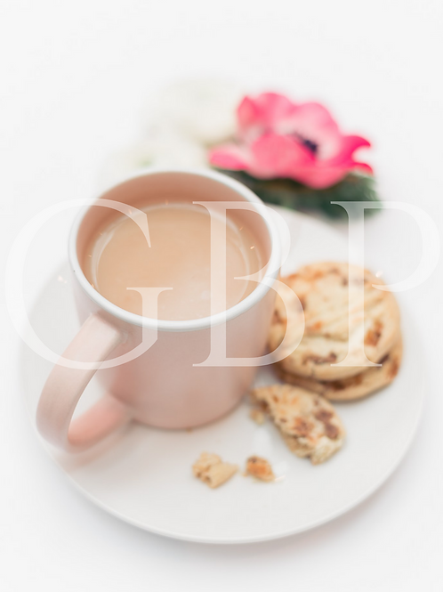 Stock Photo - Pink Cuppa and Flowers
