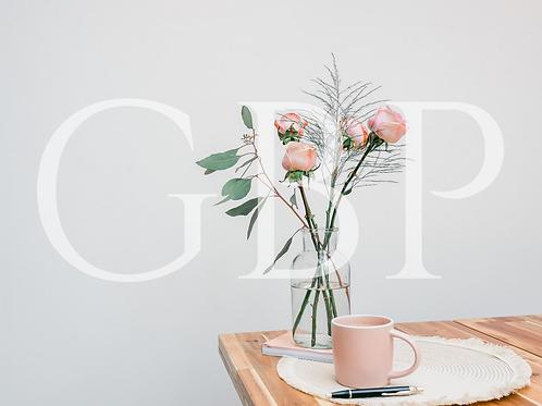 Stock Photo - Blush rose and mug landscape