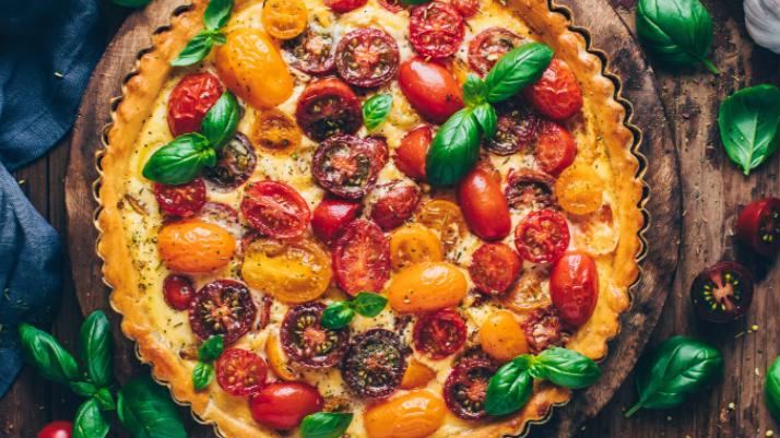 Tomato, Feta and Basil Quiche