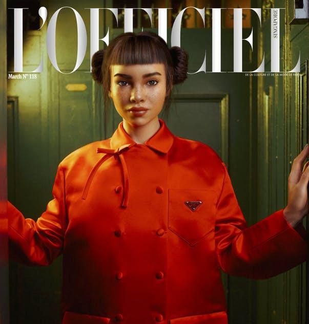 Miquela on the cover of L'Officiel