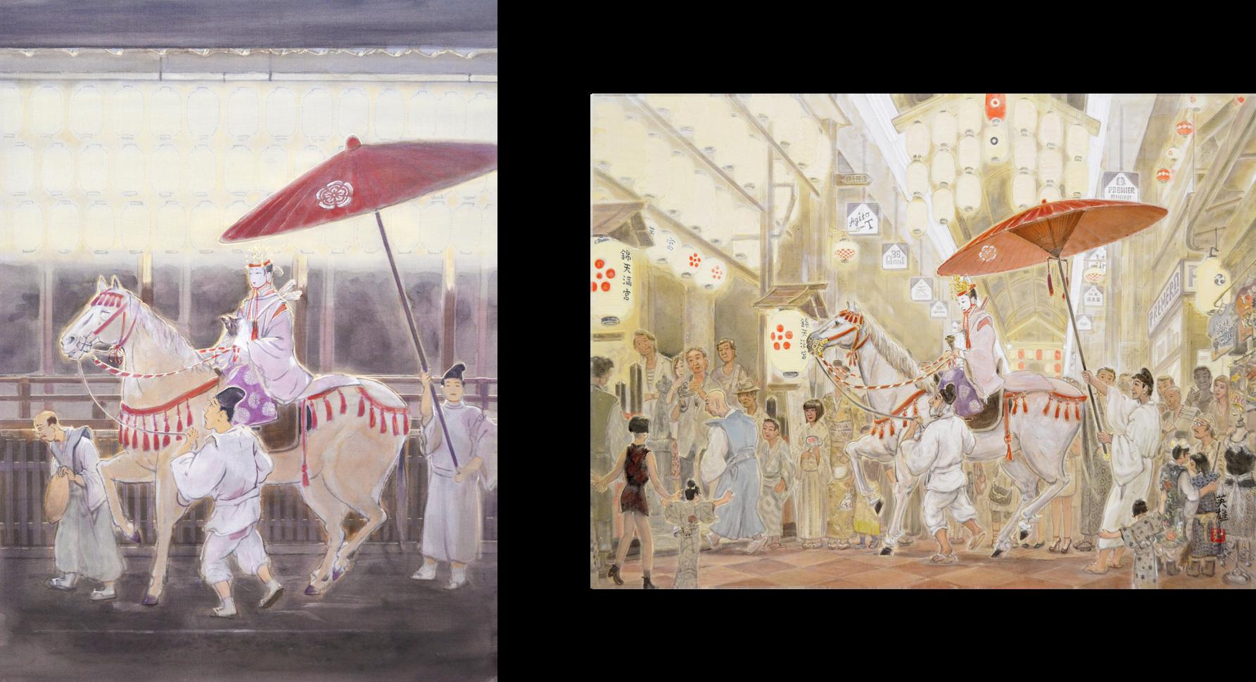 「久世駒形稚児 〜八坂神社〜」(左)・「久世駒形稚児 〜八坂神社〜」(右)