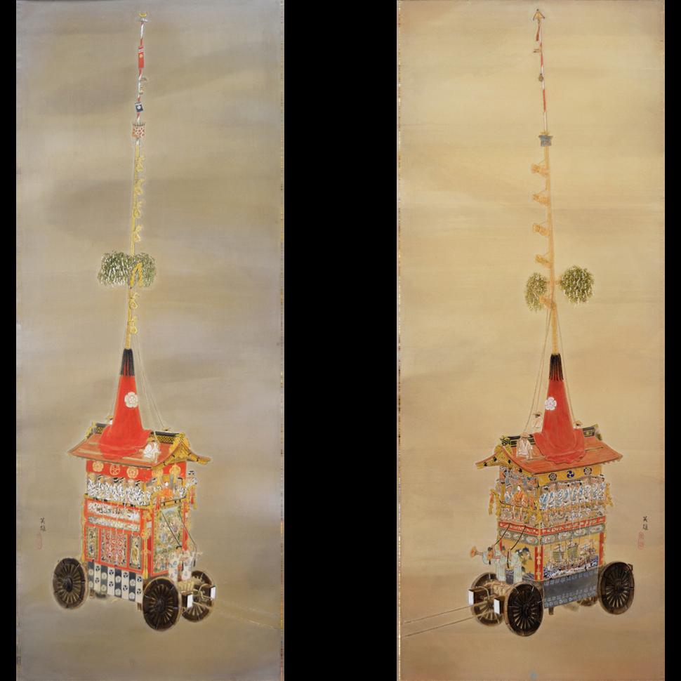 「函谷鉾」(左)・「鶏鉾」(右)
