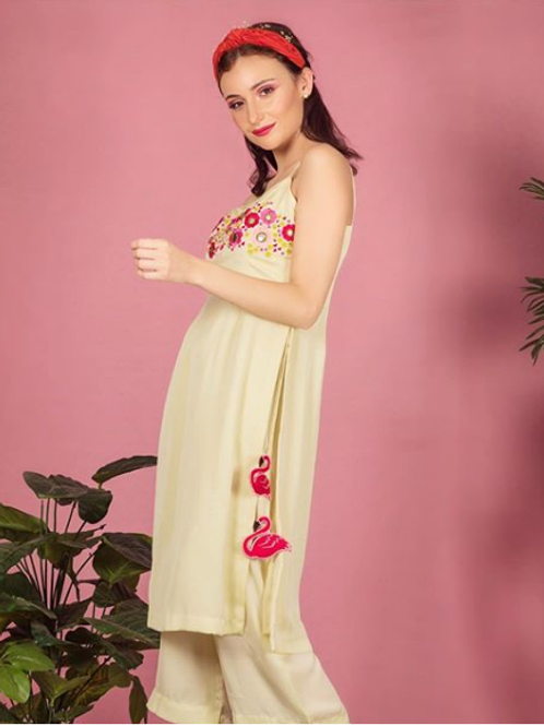Flamingo garden straight tunic with pants ( coord set )