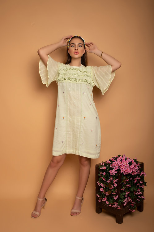 Light Jade front yoke layered Dress