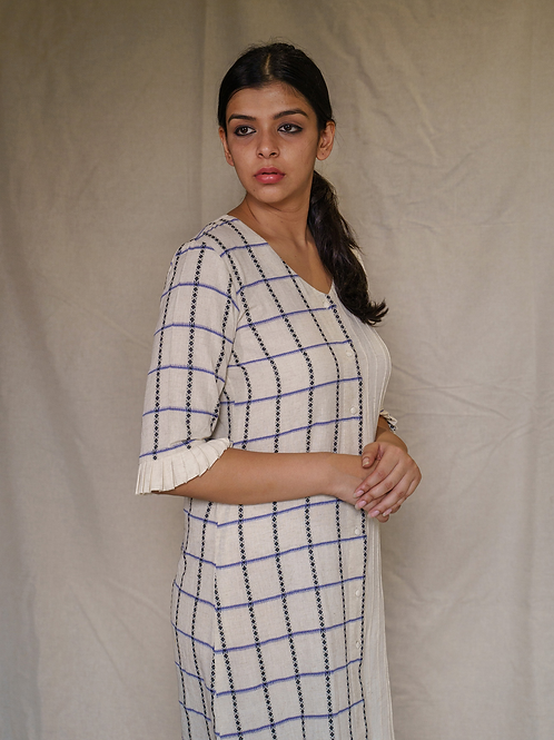 Aqua Checks Long Dress