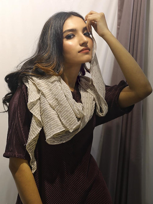 Cowl dress with scarf