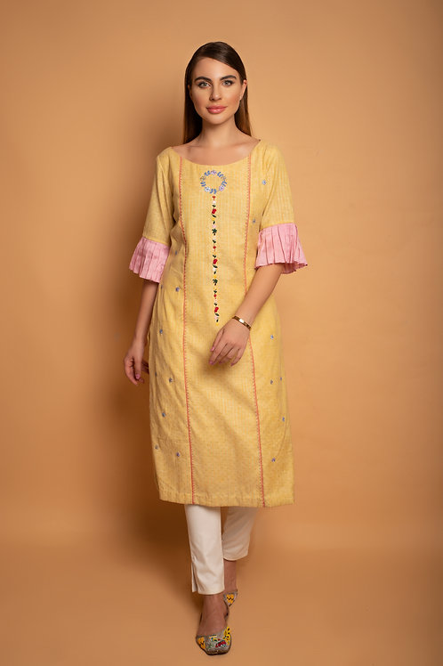 Bright Yellow handloom straight fit kurta