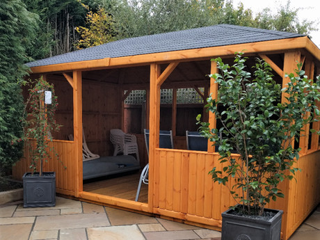 Whether it's for enjoying on long summer days and even longer nights, a covered outdoor eating space - we've even seen them used as an outdoor kitchen, hottub shelter and dance floor! Our gazebos provide you space for whatever you like!