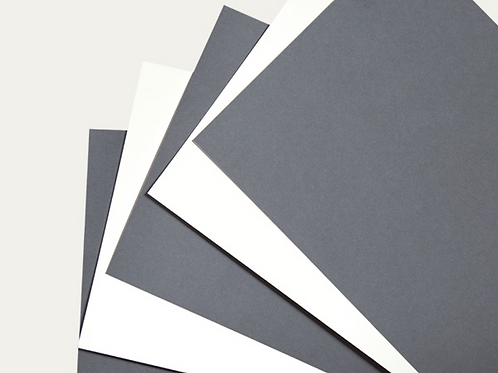 Архивен картон, сиво-синьо / естествено бяло