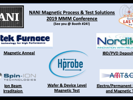 November 3-8: NANI will be representing Futek Furnace, Hprobe, Nordiko Technical Services, AMT&C and