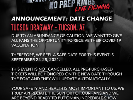 Street Outlaws Postponed Until Sept. 24th & 25th!