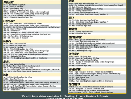 Tucson Dragway Announces 2020 Full Schedule!