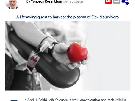 Covid Plasma Initiative profiled in Mishpacha Magazine