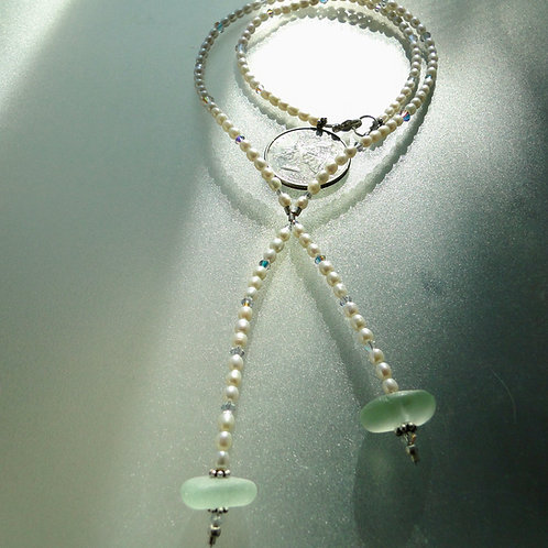 Freshwater Pearl Sterling Silver Seafoam Sea Glass Necklace #12