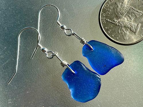 Cobalt Blue Sea Glass Earrings #21