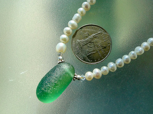 Freshwater Pearl Sterling Silver Teal English Sea Glass Necklace #21
