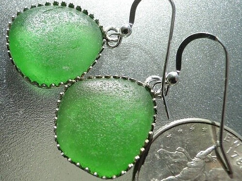 Bezel Set Kelly Green Sea Glass Earrings #11