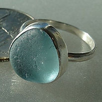sterling silver English sea glass ring.