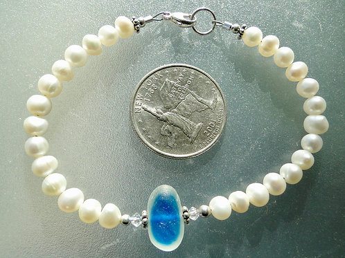 Freshwater Pearl Sterling Silver Blue English Sea Glass Bracelet #2