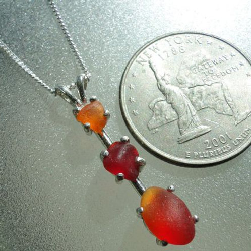 Sterling Silver Prong Set Red Orange Sea Glass Necklace #1