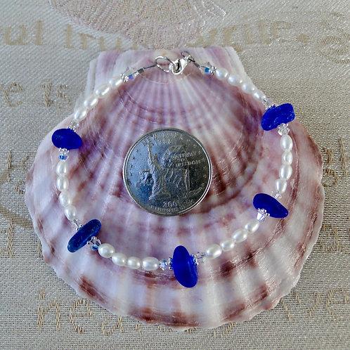 Freshwater Pearl Sterling Silver Cobalt Blue Sea Glass Bracelet #8
