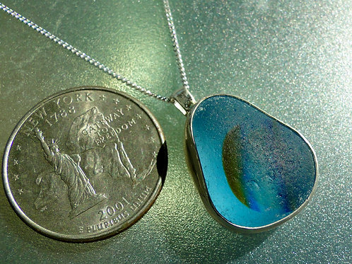 Blue Multi Color Bezel Set English Sea Glass Necklace #1