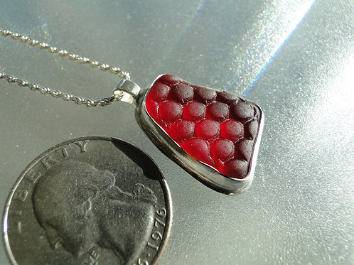 Bright Red Bezel Set English Sea Glass Necklace