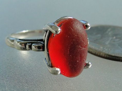Sterling Silver Red Prong Set English Sea Glass Ring #1 Size 8 1/4