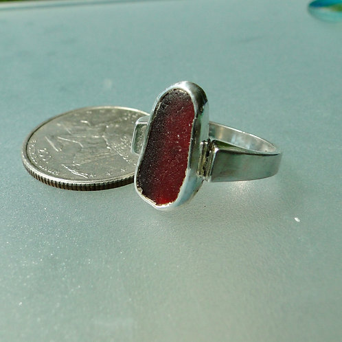 copy of Sterling Silver Cherry Red Bezel English Sea Glass Ring #18 Size 7