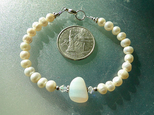 Freshwater Pearl Sterling Silver Opalescent English Sea Glass Bracelet #17