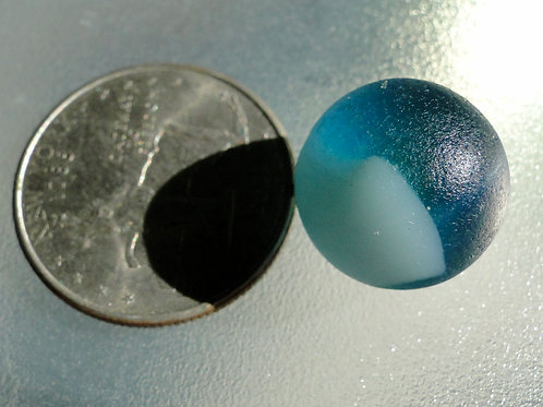 Authentic Turquoise White Swirl Sea Glass Marble #45