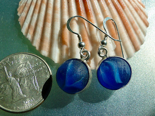 Bezel Set Cobalt Blue Marbles Sea Glass Earrings #2
