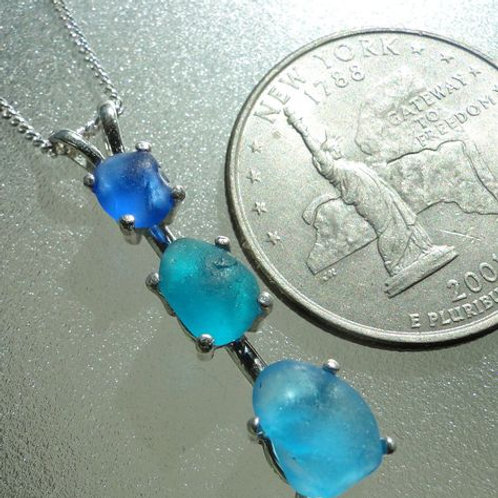 Sterling Silver Prong Set Turquoise Blue Sea Glass Necklace #2