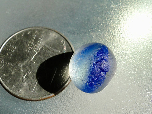 Authentic Blue Sea Glass Cateye Marble #42