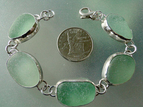 Bezel Set Seafoam Sea Glass Bracelet