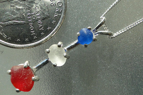 Sterling Silver Prong Set Red White Blue Sea Glass Necklace #3