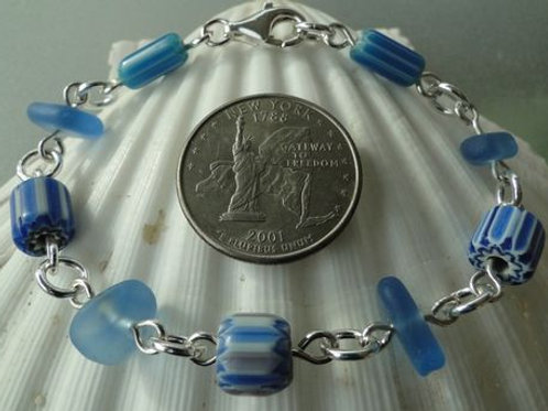 Sterling Silver Cornflower Blue Sea Glass Bracelet with Millefiori Beads #2