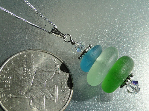 Sterling Silver Multi Color Stacked Sea Glass Necklace #1