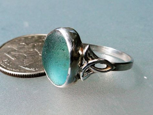 Sterling Silver Turquoise Bezel English Sea Glass Ring #3 Size 8 1/2