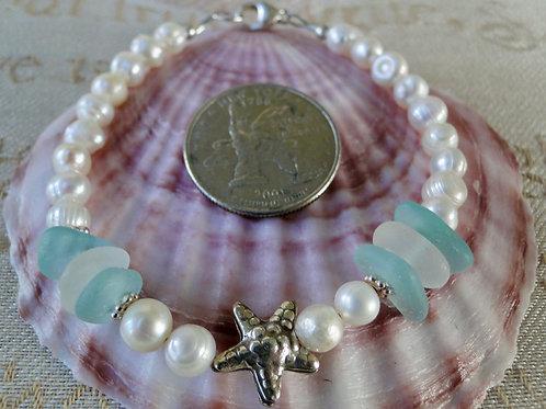 Freshwater Pearl Karen Hill Tribe Sterling Silver Sea Glass Bracelet #3