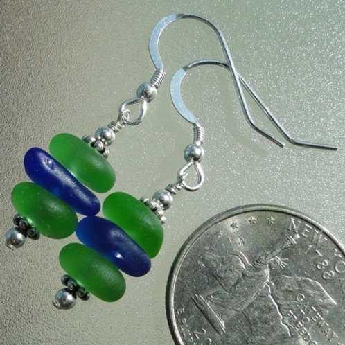 Stacked Sterling Silver Sea Glass Earrings #4
