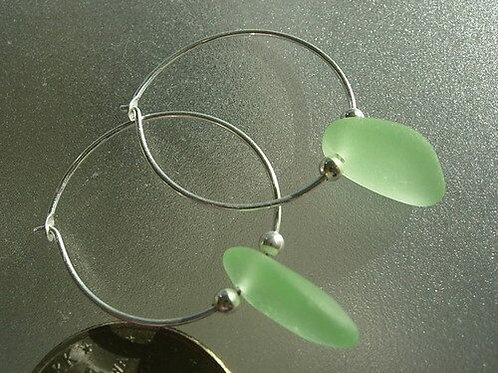 Sterling Silver Seafoam Hoop Sea Glass Earrings #11