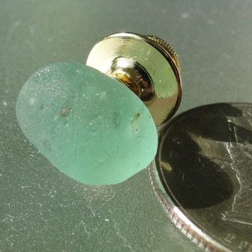 Gold Filled Mens Aqua Sea Glass Tie Tack #16