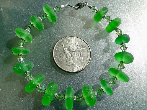 Sterling Silver Swarovski Crystal Shades of Green Sea Glass Bracelet #6