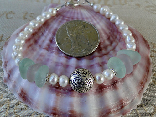 Freshwater Pearl Karen Hill Tribe Sterling Silver Sea Glass Bracelet #7